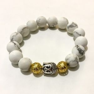Buddha Marble White Grey Beaded Bracelet